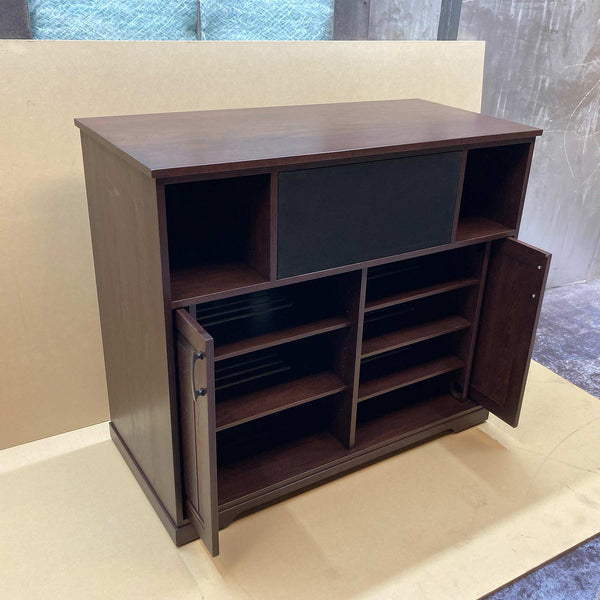 Solid Cherry Custom Media Console with Pocket Doors Made in USA