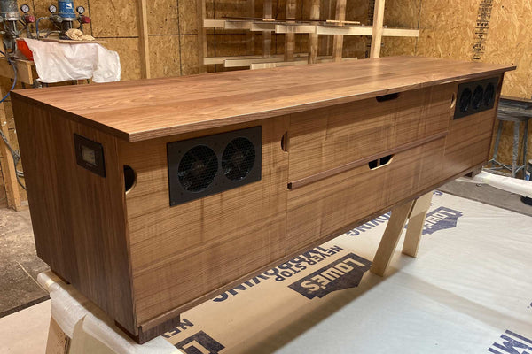 custom walnut media console with cooling fans - back view