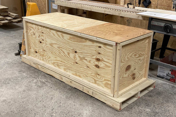 Handcrafted solid wood furniture crated for shipment