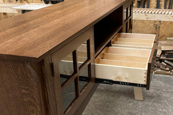 Mission-style / arts & crafts oak media console with dovetail media drawers