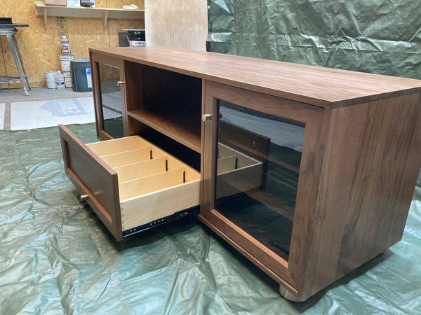 Tall Custom Solid Walnut Media Console Made in USA - Large Center Speaker Shelf and Media Storage - Dovetail Drawers!