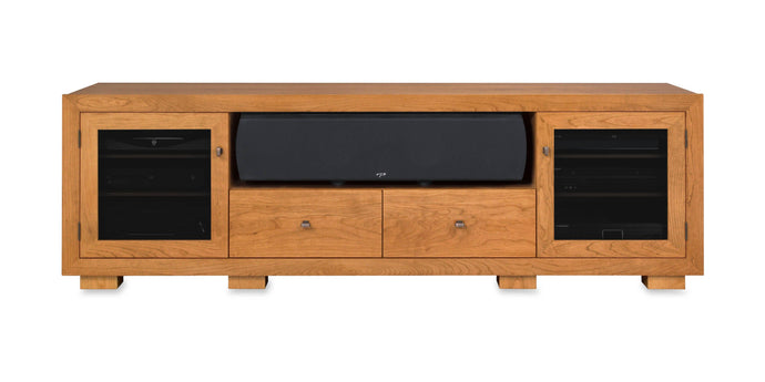 Haven Solid Wood Media Console - with center speak shelf and dovetail media storage drawers - Natural Cherry - 82