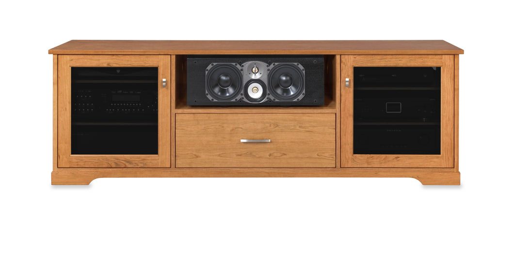 Horizon Solid Wood Media Console - with center speak shelf and dovetail media storage drawers - Natural Cherry - 72