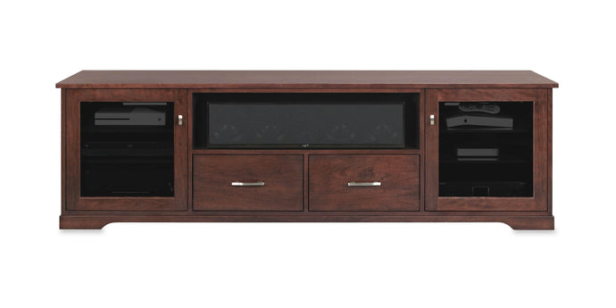 Horizon Solid Wood Media Console - with center speak shelf and dovetail media storage drawers - Espresso Cherry - 82
