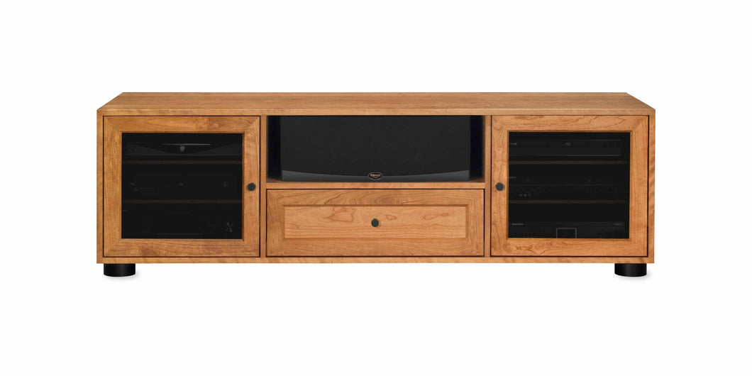 Majestic Solid Wood Media Console - with center speak shelf and dovetail media storage drawers - Natural Cherry - 70