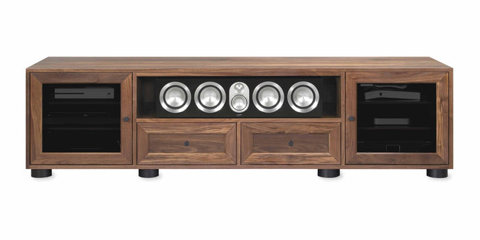 Majestic Solid Wood Media Console - with center speak shelf and dovetail media storage drawers - Natural Walnut - 82