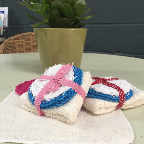 Posy cotton scrubbies for exfoliation or use in place of cotton wool with a muslin cloth