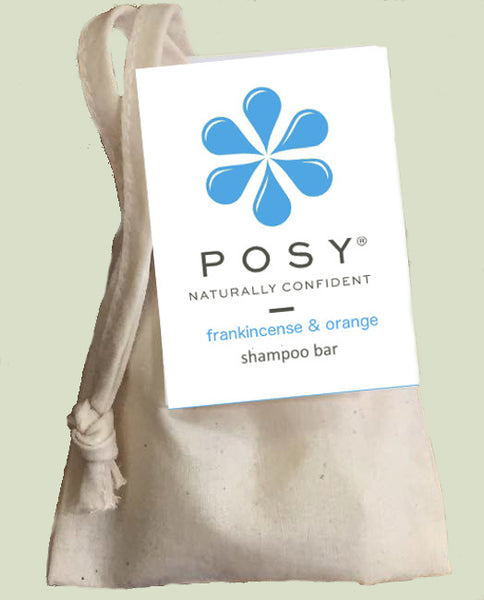 POSY frankincense and orange shampoo bar in a cotton bag