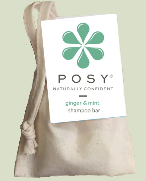 Posy ginger and mint shampoo bar in a cotton bag