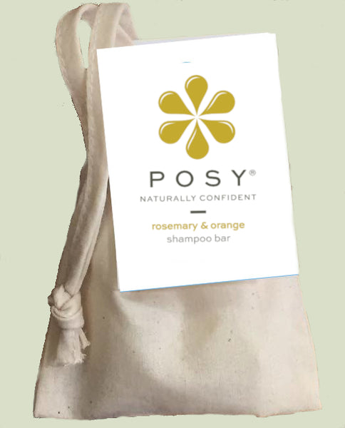 POSY rosemary and orange shampoo bar in a cotton bag