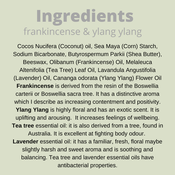 posy deodorant list of ingredients in frankincense and ylang ylang