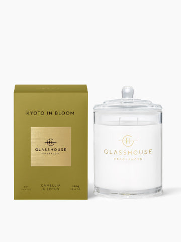 Glasshouse Fragrances Kyoto in Bloom Camellia & Lotus Soy Candle | Buy Online | Kiana Beauty