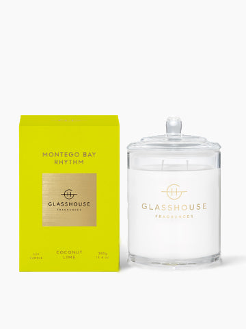 Glasshouse Fragrances Montego Bay Rhythm Coconut Lime Soy Candle 380g | Buy Online | Kiana Beauty