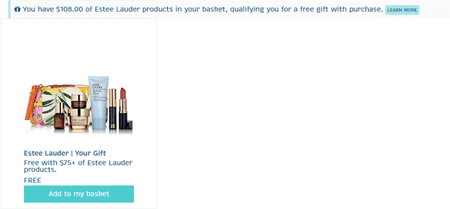 How to add the Estee Lauder Gift with Purchase to your basket