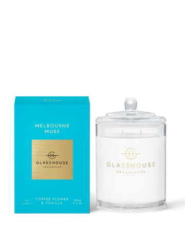 Glasshouse Fragrances Melbourne Muse Coffee Flower & Vanilla Soy Candle