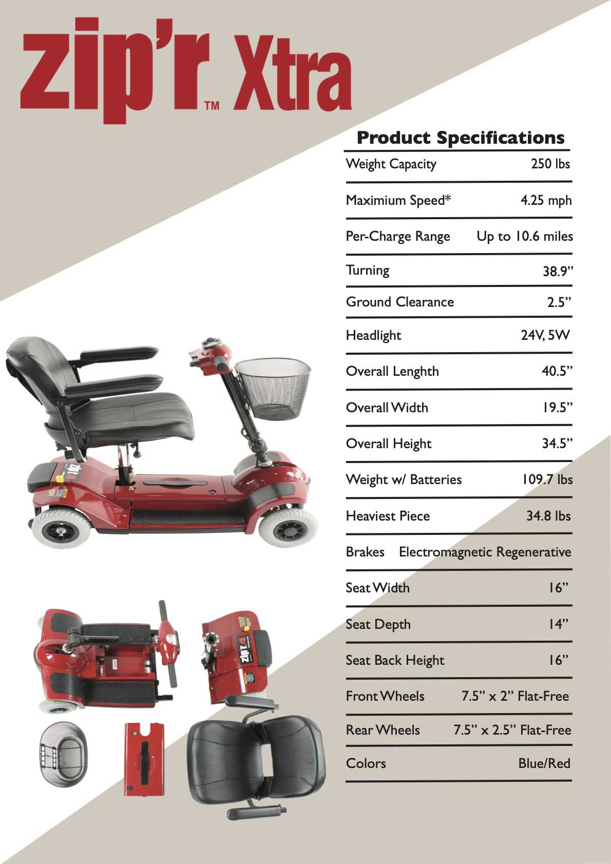Zipr 4 Xtra Mobility Scooter Product Specifications