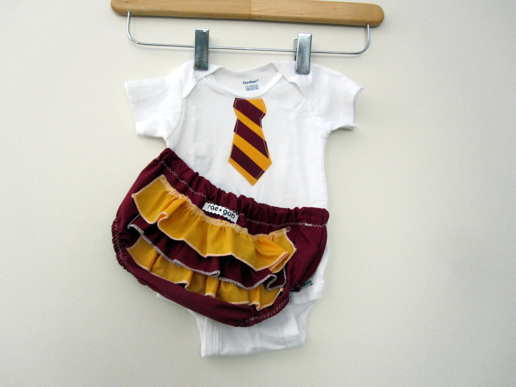 Baby Wizard Student Outfit // Tie Onesie and Bottoms