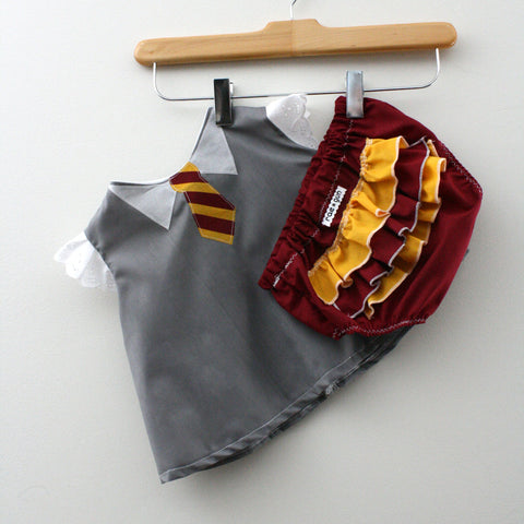 Wizard Student Baby Costume // Shirt and Ruffle Diaper Cover