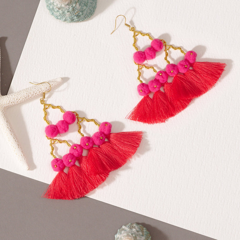 Nadia Pink Layered Earrings