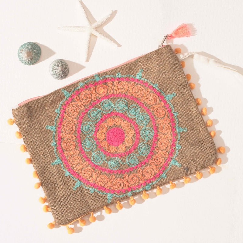Rainbow Mandala Pouch - Orange