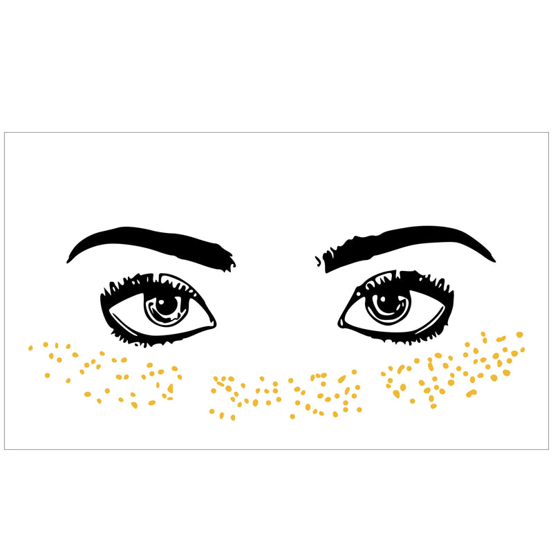 Gold Freckles Face Tattoo