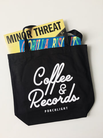 "Porchlight Coffee & Records ""Coffee & Records"" Tote Bag"