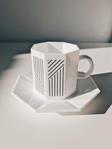 Vintage Arcoroc White Stripe Octime Cup and Saucer
