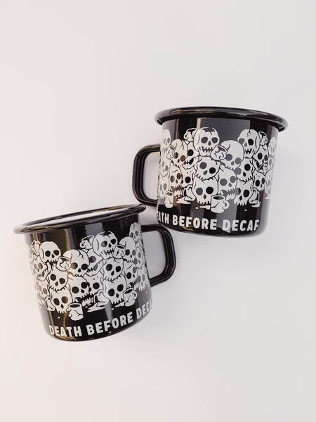 Pyknic Death Before Decaf Enamel Mug