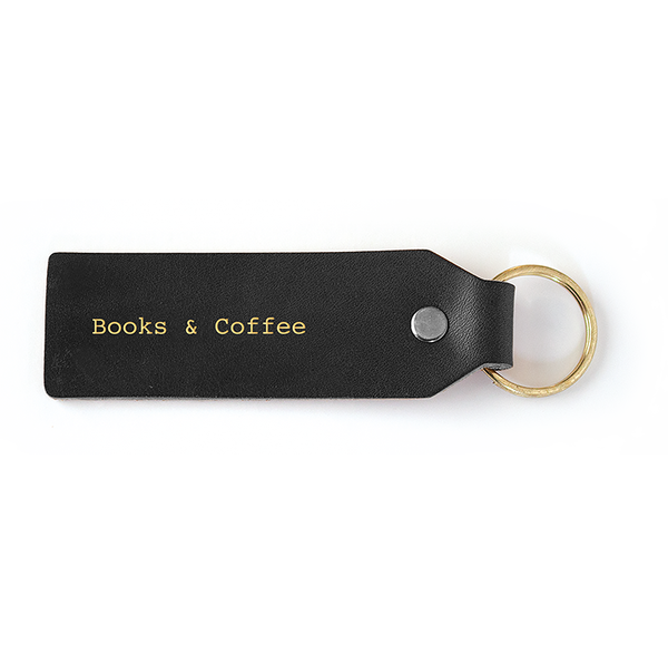 Seltzer Goods Leather Books & Coffee Keytag