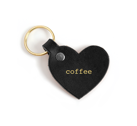 Seltzer Goods Leather Coffee Heart Keytag
