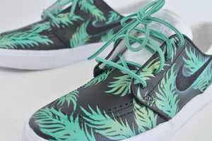 Sea Foam Green & Gold Tropical Nike SB Stefan Janoskis - Custom Hand Painted - Step By Step
