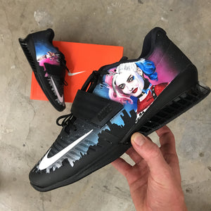 Gangsta Magnet Kicks!??  Harley Quinn Dominates Artwork on Nike Romaleos 3 Like the Boss She Is!
