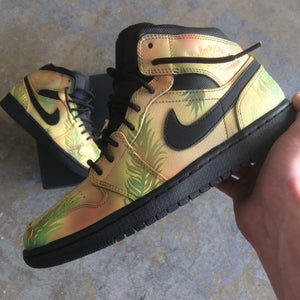 Tropical Floral Nike Air Jordan 1 Retro - Custom Hand Painted