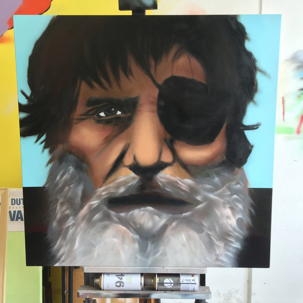 Aerosol on Canvas Painting of Santa Cruz Legend Jack O'Neill