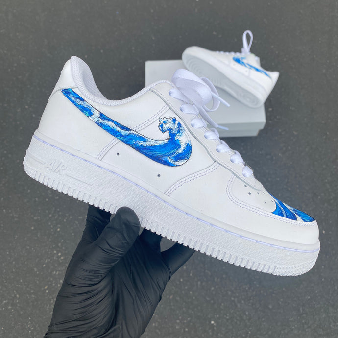 Custom Hand Painted Wave Nike Air Force 1s