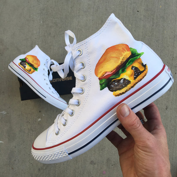 New York Minetta Tavern Burger - White Hightop Burger Theme Converse Chuck Taylor Hi Tops