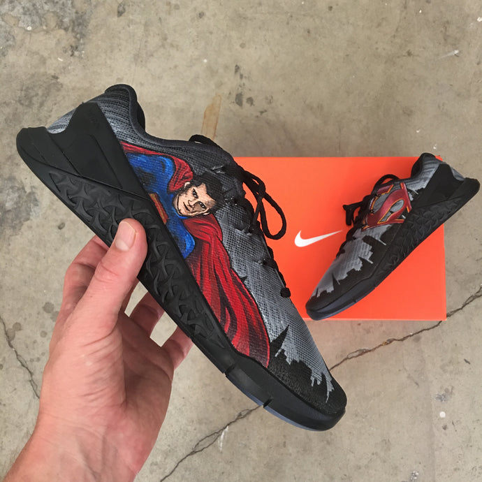 Superman Man of Steel  -Custom painted Nike Metcon 3