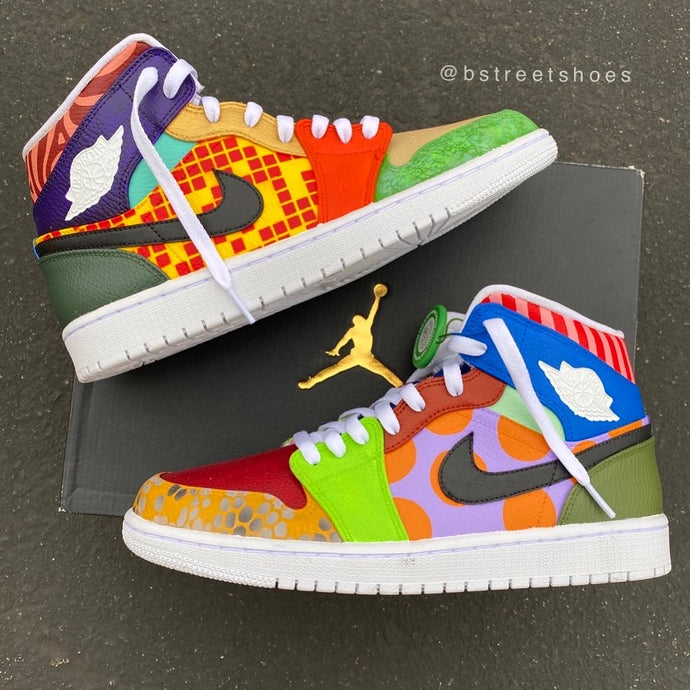 "Pattern and Color Crazy - Custom Painted Nike Jordan 1 Mids ""What The Jordan"""