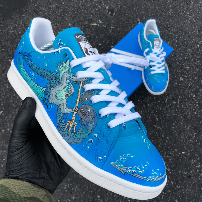 Custom Hand Painted CS:GO M4A4 Poseidon Themed Adidas Stan Smith!
