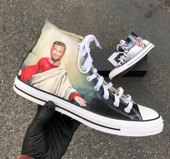 Ryan Reynolds/ Deadpool Custom Comedy Converse