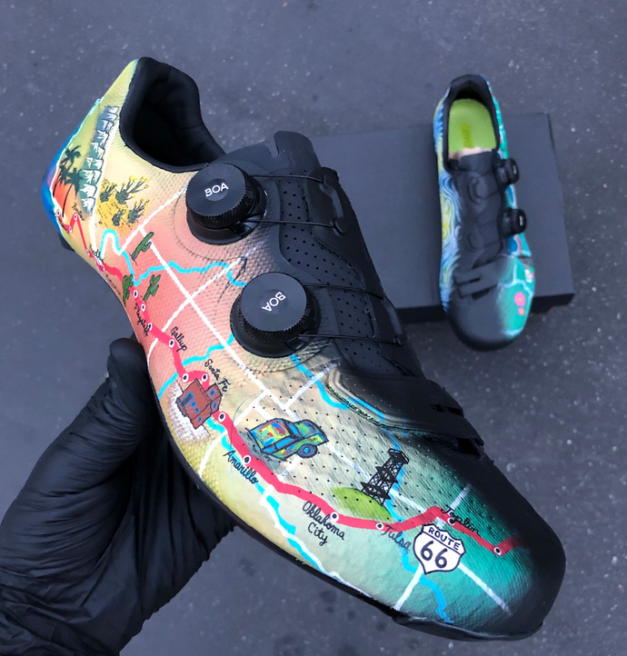 Custom Painted Cycling Shoes to Commemorate the Trip of a Lifetime!