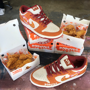 Custom Handpainted Popeyes Crispy & Clean Nike Chicken Kicks