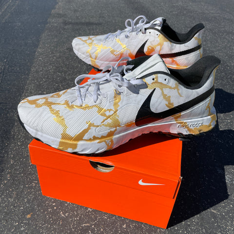 Gold Marble Nike React Golf Shoes