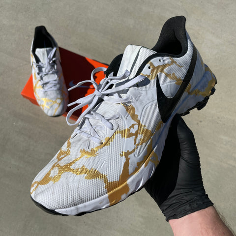 Custom Painted Gold Marble Nike React Golf Cleats