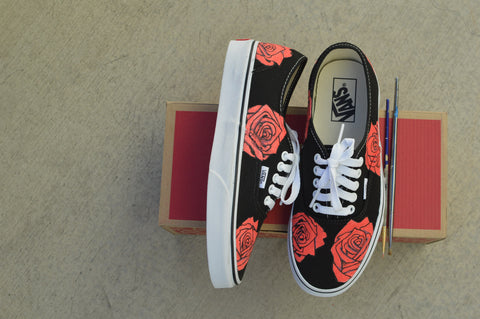Custom Rose Vans, Hand Painted Shoes