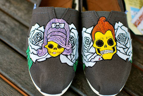 custom toms, halloween toms, wedding toms, punk toms, punk wedding shoes, greaser wedding, dia de los muertos, sugar skull toms