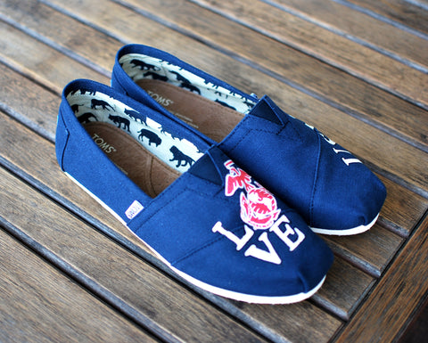 navy toms, usmc toms, custom toms shoes,