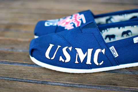 navy toms, usmc toms, custom toms shoes, military wife toms