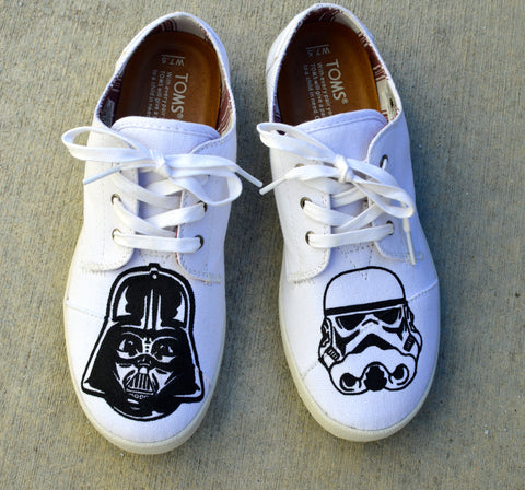 star wars Toms, Darth Vader, Storm Trooper, The Force Awakens, Custom Sneakers