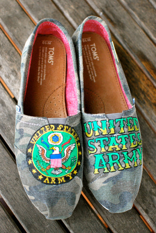 us army, united states army, army toms, camo toms shoes, custom sneakers
